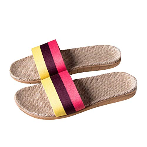 (LIM&Shop ❤ Unisex Stripes Linen Skidproof House Slippers Cross Braid Cozy Indoor Home Slippers Non-Slip Casual Sandals Yellow)