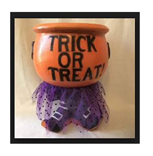 Yikes 13 Inch Witch's Cauldron Light Up Orange Candy Bowl with Spooky Halloween -