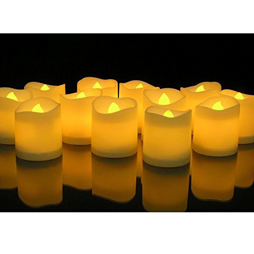 24 PCS Flameless Votive Candles Battery Operated Flickering LED Tea Light (Votive Lights Battery Operated)