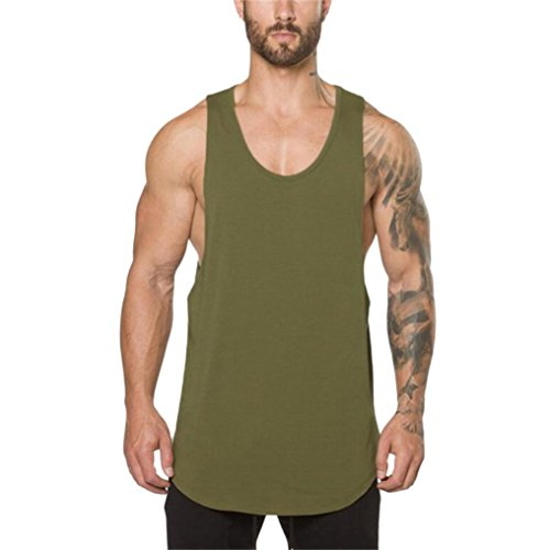 iLXHD Men's Gyms Bodybuilding Fitness Muscle Sleeveless T-Shirt Top Vest Tank (XL, Army Green) ()