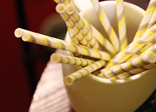Price comparison product image HEARTFEEL 100% Biodegradable Paper Straws 25 PCS Baby Shower Wedding Birthday Party Supply Grey White Yellow Strips Paper Straw Tropical Parties Beachside Party Luau Party(PS-3)