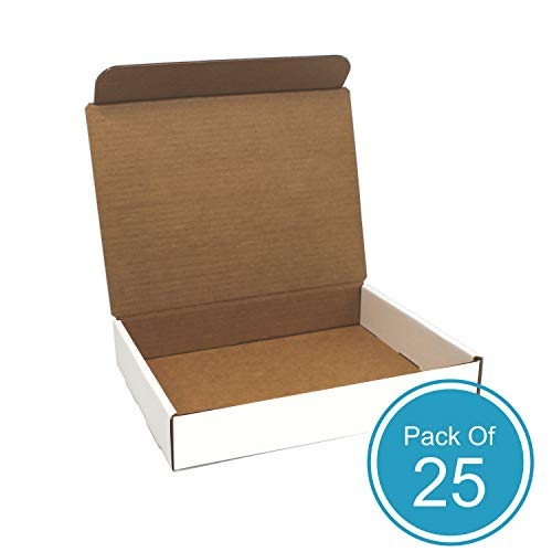 HTTP Cardboard Shipping Boxes, 11.125L x 8.75W x 2H, White Corrugated, Pack of 25 Small Cardboard Boxes