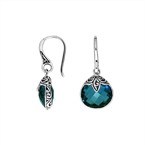 Sterling Silver Pears Shape Earring with London Blue Quartz AE-6180-LBT