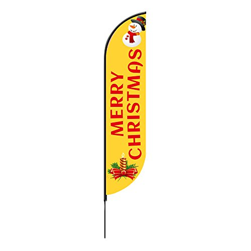 Merry Christmas Feather Flags 2 x 7.58 ( Single Sided ) by BannerBuzz