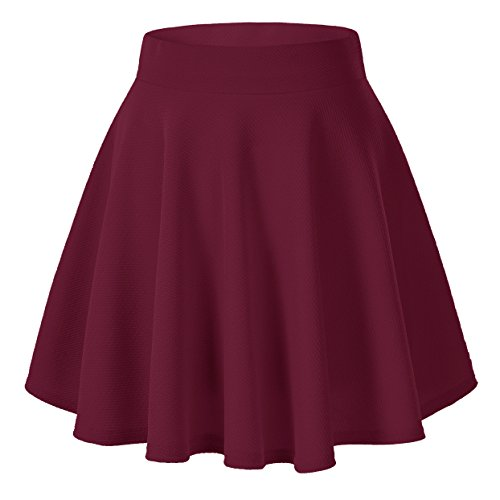 Urban CoCo Women's Basic Versatile Stretchy Flared Casual Mini Skater Skirt (Large, Wine Red) -
