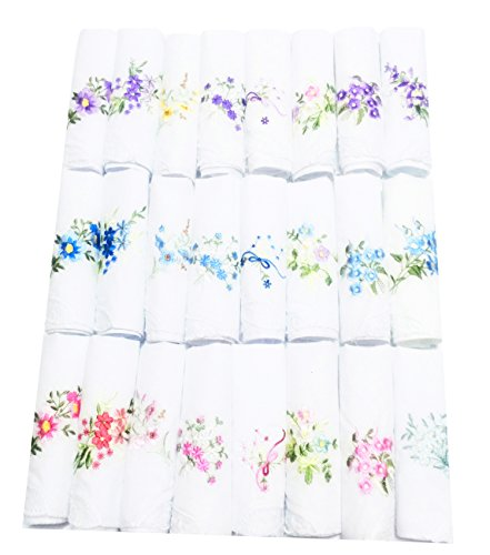 COCOUSM Ladie Embroidered Cotton H andkerchiefs Perfect Wedding Pack Bulk (Skirt Heaven Vintage)