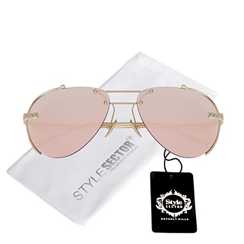 WIRE-FRAMED MIRROR AVIATOR SUNGLASSES IN PINK-TONE WITH A BROW - Glasses Avaiator