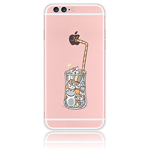 """Case for iPhone 7 Plus 5.5"""",Sunroyal Cartoon Cover Protective TPU Silicone Soft Flexible Transparent Ultra-Slim with Anti-dust Plug Function (Adorable Drinks Cat Cup Straw with Funny Apple Pattern)"""