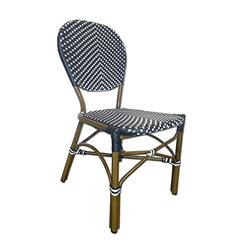 Table in a Bag CBCNNW All-Weather Wicker French Café Bistro Chair with Aluminum Frame, Navy/White by Table in a Bag