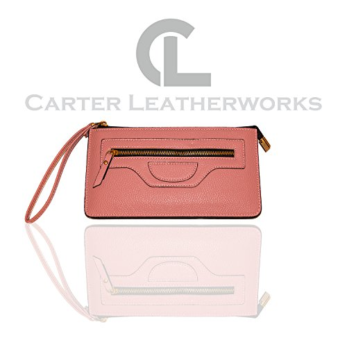 Carter Leatherworks Rodeo Womens PU Vegan Leather Wristlet Wallet Clutch Purse Fits Any Smartphone (Pink) by Carter Leatherworks