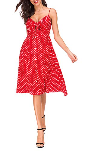 TOP-MAX Women's Dresses-Summer Polka Dot Bohemian Spaghetti Strap Button Down Swing Midi Dress- Red Sexy Casual Dress ()