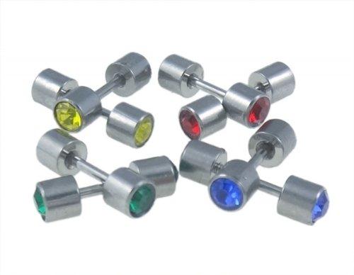 Boucles d'oreille en acier inoxydable avec cristaux couleur pastel