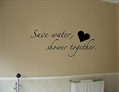 Boodecal Quote Series Wall Decals Save Water Shower Together Funny Catch- Phrase Vinyl Wall Quotes Art Stickers Cute Inspirational Home Bathroom Shower Glass Sayings Art Lettering 229 Inches