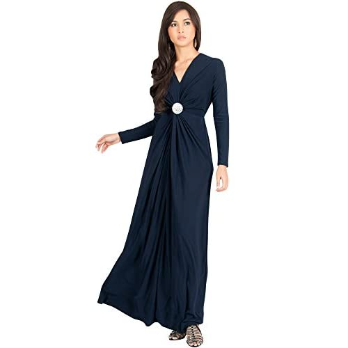 New Koh Koh Womens Long Sleeve Semi Formal Flowy Fall Gowns Maxi