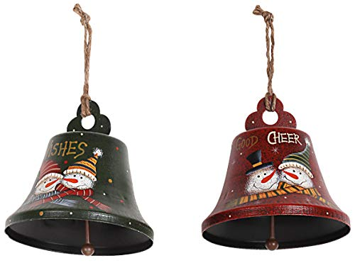Rustic Metal Snowman Christmas Ornaments Set of 3, Decorative Hanging Xmas Tree Ornaments for Indoor Outdoor Christmas Tree Decoration, Holiday Party, Home Decor, 4.3''x4'' (Bell Set of 2)