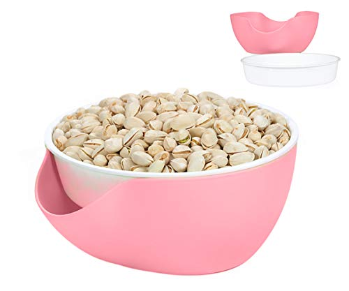 Double Dish Pistachio Bowl,Nuts Bowl,Peanut, Edamame,Candies, Fruit, Breakproof Snack Serving Bowl (White/Red) (Red)