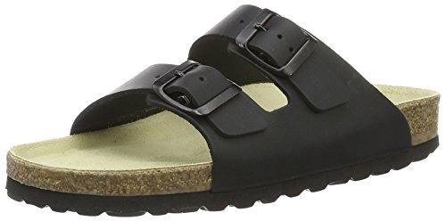 Wörishofer Bio-Pantolette 41110 - Zapatos con hebilla de cuero unisex Negro (Black/black/gum)