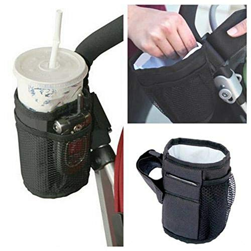 Dreamfly Baby Stroller Wheelchair Cup Holder Heat Preservation Side Hanging Bottle Bag with Mesh Pocket for Baby Stroller Bicycle Wheelchair ()