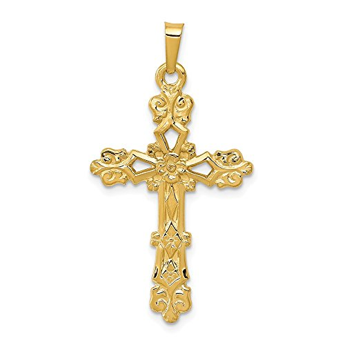 Budded 14k Pendant Cross (14k Yellow Gold Budded Cross Religious Pendant Charm Necklace Latin Fine Jewelry Gifts For Women For Her)
