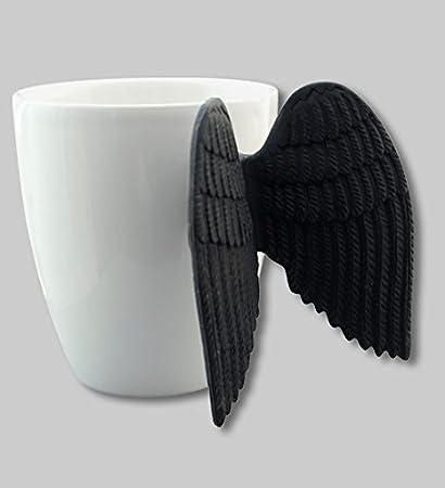 7cf1f21e0bb Pylones Angel Time Coffee Tea Cup Mug w/ Wings, Black: Amazon.co.uk ...