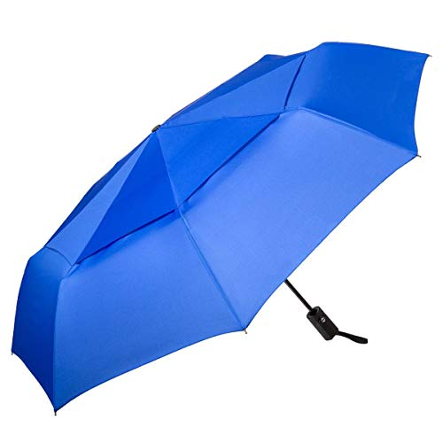 Going Places Windproof Travel Umbrella (Blue) Auto Open & Close | Small, Portable, and Compact | for Men & Women | Wind-Resistant Double Canopy | Sturdy | Folding | Premium Wind Protection | Mini