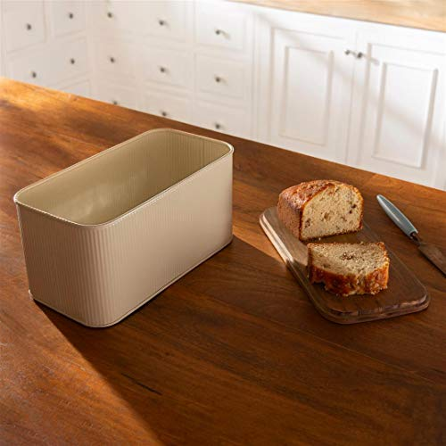 Ellementry Egg Shell Metal Bread Box with Wooden Lid