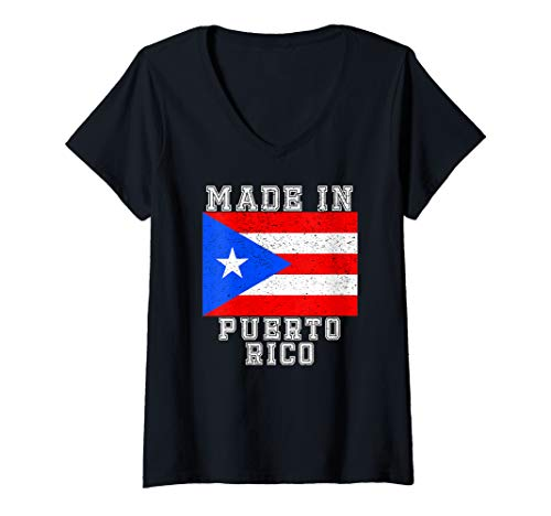 Womens Made In Puerto Rico Puerto Rican State Flag Graphic V-Neck T-Shirt