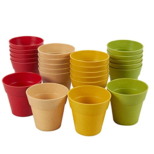 Juvale Plastic Plant Pot - 24 Pack Mini Flower Pots, Mini Flower Pot Planters for Indoor, Outdoor Plant, Succulent Display, 4 Assorted Colors, 1.5 x 2.3 Inches]()