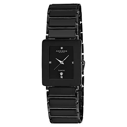 - Akribos XXIV Men's AK521 Rectangular Ceramic Quartz Movement Watch Inner Link Bracelet (Black On Black)