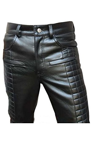 Olly And Ally Mens Real Black Leather Quilted Design Motorcycle Bikers Pants Jeans TROUSER-502 W40 X L30 Leather Biker Jeans
