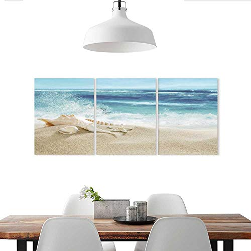 Auraise-home Customizable Wall Stickers Tropical Beach and Splashing Waves Triple Stickers