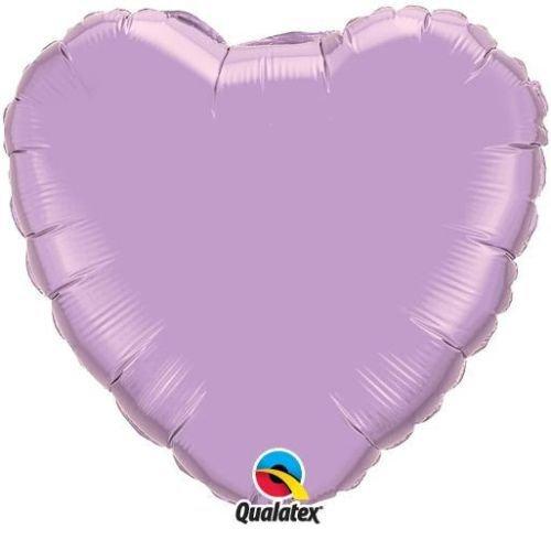 "Pearl Lavender Qualatex 4"" Foil Heart Shaped Balloons x 2"