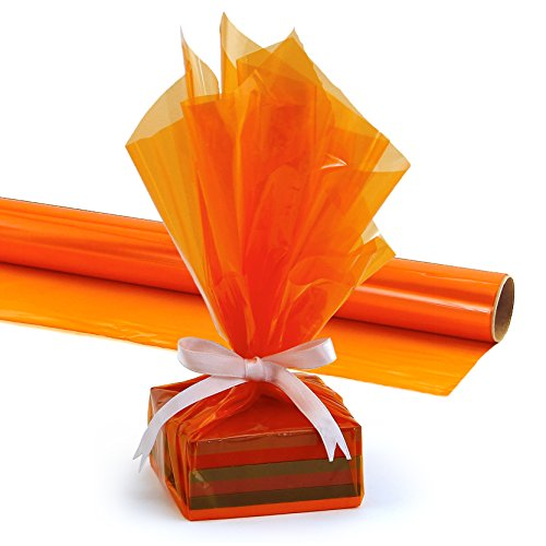 Hygloss Products Cellophane Roll - Cellophane Wrap for Crafts, Gifts, and Baskets 20 Inch x 5 Feet, Orange