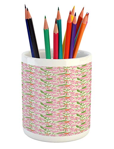 Ambesonne Garden Art Pencil Pen Holder, Botanical Pattern with Echinacea Flowers Stems and Leaves Pink Gardening Plants, Printed Ceramic Pencil Pen Holder for Desk Office Accessory, Multicolor