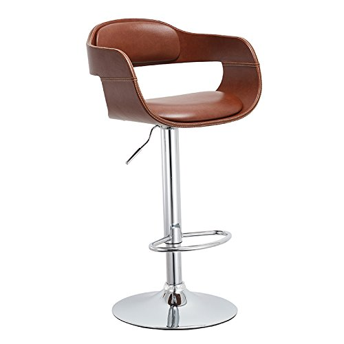 Christies Home Living Contemporary Swivel Adjustable Barstool with Padded Seat and Back, Brown
