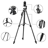 DeemoShop Aluminum Tripod with 3-Way Head & Bluetooth Remote + Clip for Camera Phone