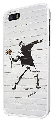 549 - Banksy Grafitti Art Wall Flower Thrower Funky Design iphone 4 4S Coque Fashion Trend Case Coque Protection Cover plastique et métal - Blanc