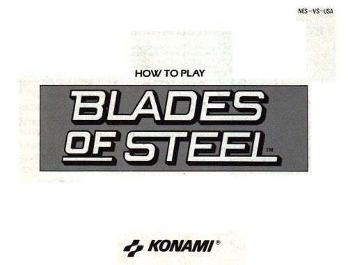 Blades of Steel Instruction Booklet / Manual (NES Manual Only) (Nintendo NES ...