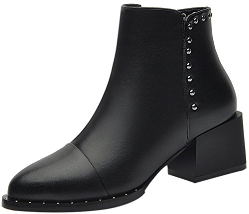 T&Mates Womens Comfort Short Fur Lining Block Heel Zipper Closure Fall Winter Ankle Booties (8.5 (Doc Holiday Costume For Sale)