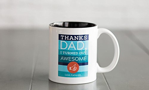 Personalized Mugs for Fathers, Good Fathers Day Cup Poppa Coffee Mug - Also Birthday Gifts for Dad (11 oz, Thanks Dad)