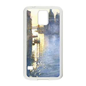 Samsung Galaxy S5 Case, the Morning the Grand Canal Antishock Case for Samsung Galaxy S5 {White}