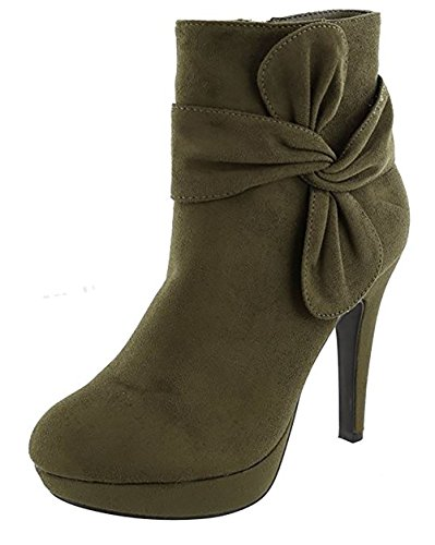 Top Moda MVE Shoes Women's High-Heels Frosted Low-Top Solid Zipper Boots Olive Imsu
