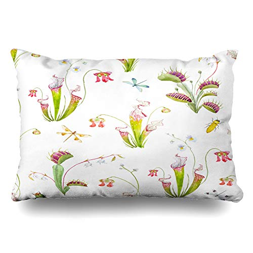 (Ahawoso Throw Pillow Cover Queen 20x30 Sarracenia Pink Watercolor Pattern Tropical Carnivorous Plants Venus Ibis Flower Nature Red Beach Cushion Case Home Decor Pillowcase)