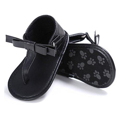 Glosun Baby Boys Girls First Walker Summer Flip-Flops Bowknot Sandals Soft Sole Shoes (12-18 Months, Black)