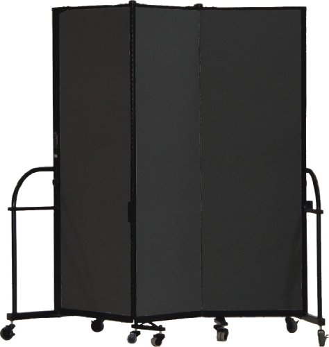 Screenflex Heavy Duty Portable Room Divider (HFSL603-DX) 6 Feet High by 5 Feet 9 Inches Long, Designer Black Fabric by Screenflex