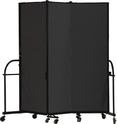 Screenflex Heavy Duty Portable Room Divider (HFSL603-DX) 6 Feet High by 5 Feet 9 Inches Long, Designer Black Fabric by Screenflex