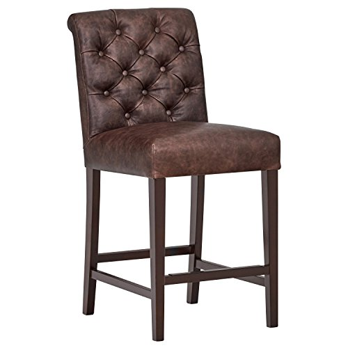 Stone & Beam Carson Leather Tufted Kitchen Counter Bar Stool, 41 Inch Height, Brown, Wood