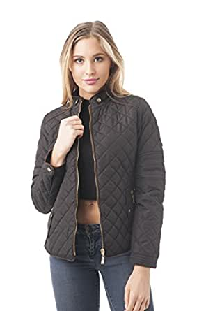 Khanomak Women's Quilted Padding Jacket with Suede Piping Detail (Small, Black)