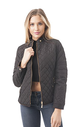 Quilted Padding Jacket With Suede Piping Detail (Small, (Suede Piping)