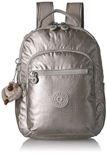 Kipling Women's Seoul Go Small, Padded, Adjustable Backpack Straps, Zip Closure, Cloud Grey/Metallic